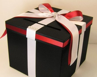 Wedding Card Box Black and White/Red Gift Card Box Money Box Holder--Customize your color