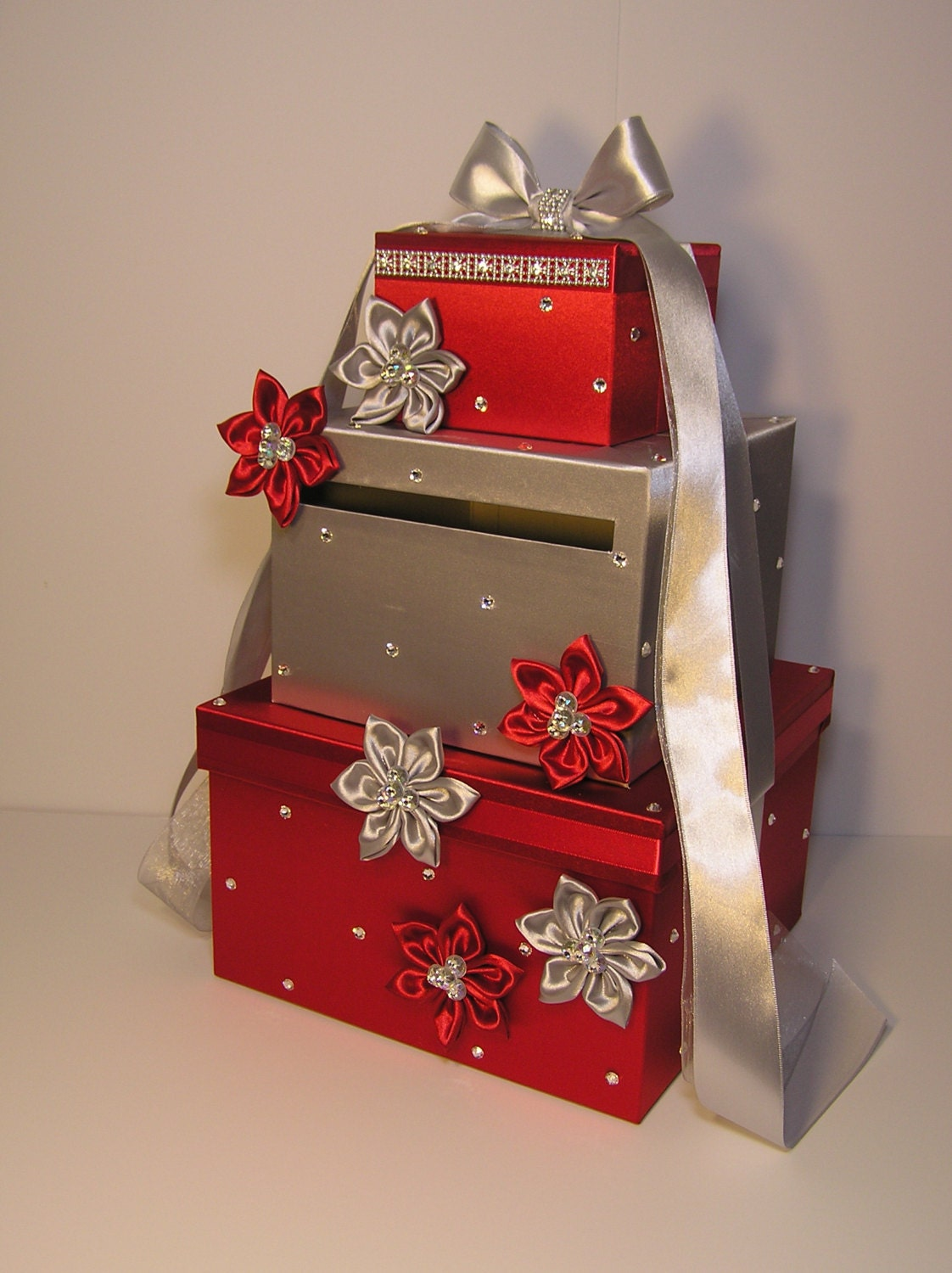 wedding card box red and silver gift card box by bwithustudio