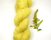 Goldenrod Sock Yarn, Natural Dyed Semi-solid Yellow Fingering Weight Yarn