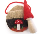 Waldorf Forest Gnome with Mushroom Pouch, Eco Friendly Wood and Wool Toy