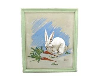White Bunny Rabbit Print in Soft Green Wooden Frame Vintage nursery print Garden Room Wall Art Easter Bunny