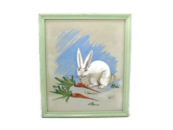 White Bunny Rabbit Print in Soft Green Wooden Frame Vintage nursery print Garden Room Wall Art Easter Bunny