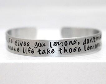 When Life Gives You Lemons Bracelet, Gamer Bracelet, Gamer Jewelry, Aluminum Bracelet