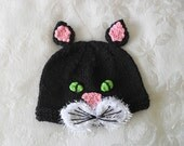Knitted Baby Hat Knit Baby Hat Knitting Green Eyed Cat Hat Halloween Baby Hat Knitted Hat Cotton Knit Hat Knitted Baby Beanie