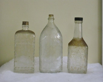 Collection of 3 Vintage Clear Bottles, Different Size Shapes Textured Dirty Bottles, Primitive Threaded Capped Display Prop Mixed Lot