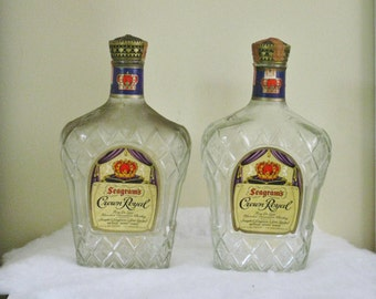 Your Choice Vintage Crown Royal Bottle, Large Canadian Whiskey Barware, Old Collectible Liquor Bottle