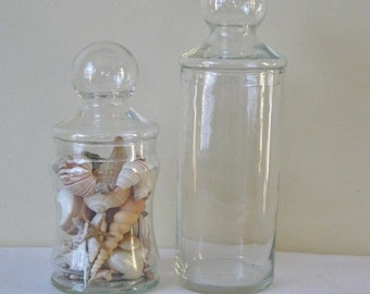 Pair Vintage Clear Glass Jars with Lids, Covered Candy Container, Set of two Apothecary, Bubble Top Lid Display Terrarium Storage Jar