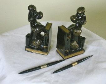 Vintage Poodle Book Ends Pen Holder Desk Set, Mid Century 1950s Home Library Office Decor, Ceramic Dog Collectible Figurine ,