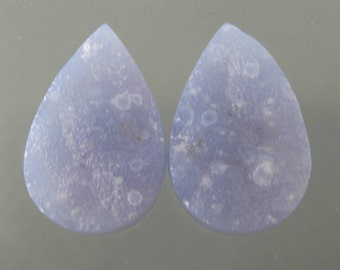 Blue Botryoidal Druzy Chalcedony Cabochon Matched Pair,