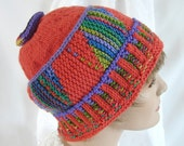 Colorful Woman's Knit Hat Womens Knit Hat Woman's Coral Knit Cloche Woman's Colorful Knit Hat Girl's Colorful Striped Knit Hat Girl's Hat