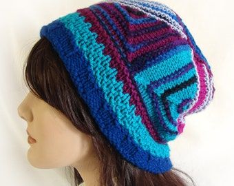Woman's Colorful Hat Triangle Module Knit Hat Blue Teal Magenta Purple Knit Hat Knit Module Hat Woman Multi-Color Winter Hat Womans Knit Hat