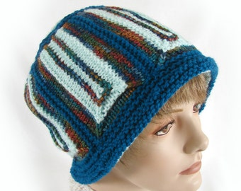 Colorful Knit Hat Teal Aqua Knit Cloche Women's Knit Cloche Colorful Knit Cloche Knit Women's Winter Hat Knit Module Hat Woman's Teal Hat
