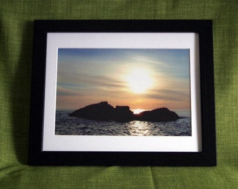 Framed photo - sunset over a small island in Scotland