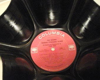 Barbara Striesand Genuine 33rpm Upcycled LP Record Bowl  on Columbia Records