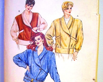 kwik-sew pattern 1454 ~ oversize shawl collar jacket ~ (1985) ~ UNCUT