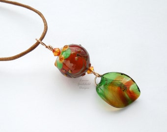 Toffee Apple lampwork necklace, autumn necklace, fall necklace, brown and green necklace, nature inspired