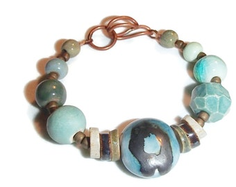 Ceramic Bead Bracelet. Aqua Teal Ceramic Bead Bracelet. Ceramic and Copper Bracelet