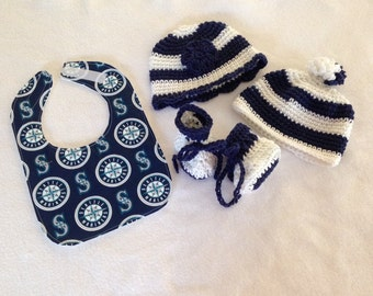 Seattle Mariners baby gift set(size 0 to 6 months or 6 to 12 months)