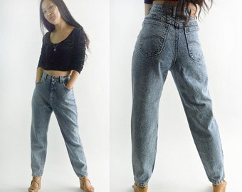 Vintage Denim 80s High Waisted Jeans  Faded Acid Wash Jeans 1980s Mom Jeans Acid Wash LEE Jeans Relaxed Fit Taper Leg Jeans XS 24 Waist