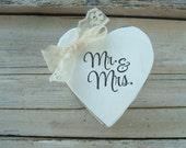 Mr & Mrs white ring box . distressed heart shaped white ringbearer box . rustic wedding . white and lace ringbearer box
