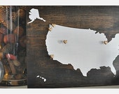 U.S. Map Wood Sign with Heart Pins