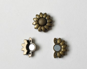 Antique Brass Sunflower Magnetic Clasp, 10x2mm Antique Brass Strong Magnetic Clasp for Flat Cord