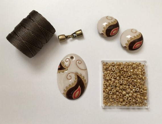 Oval Paisley Paritally Beaded Kumihimo Necklace Kit, Golem Design Studio, Tutorial Sold Separately