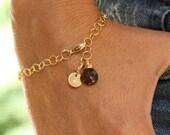 14K Gold Initial Bracelet, Gold, Grandmother Gift, Mother-In-Law Gift, Casual Stone Bracelet, Gold Chain Bracelet, Smoky Quartz Bracelet