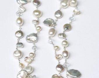 Wedding, Bridal Necklace, Long Wedding Necklace, Long Pearl Necklace, Bridal Accessories, Bridal Jewelry, Bridal Necklace, Wedding Jewelry