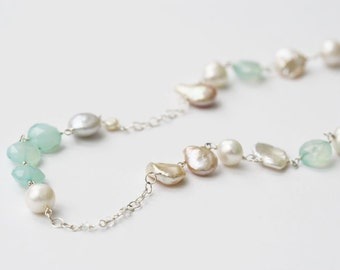 Long Gemstone Necklace, Long Gemstone and Pearl Necklace, Mint Jewelry, Mint and Pink, Blush Necklace, Long Necklace, Long Pearl Necklace