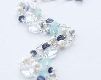 Multi Strand Bracelet, Blue Gemstone Bracelet, Blue Stone Bracelet, 3 Strand Bracelet, Mint, Seafoam, Navy Blue, Blue Gemstone Jewelry, Blue
