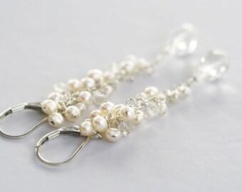 White Cluster Earrings, Statement Earrings, Long Earrings, Gift for Bride, Gift for Wife, Fine Jewelry, Long Pearl Earrings, Birthday Gift