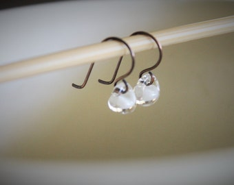 Water Droplet Earrings - Borosilicate Glass Teardrops on Antique Copper Wires in White