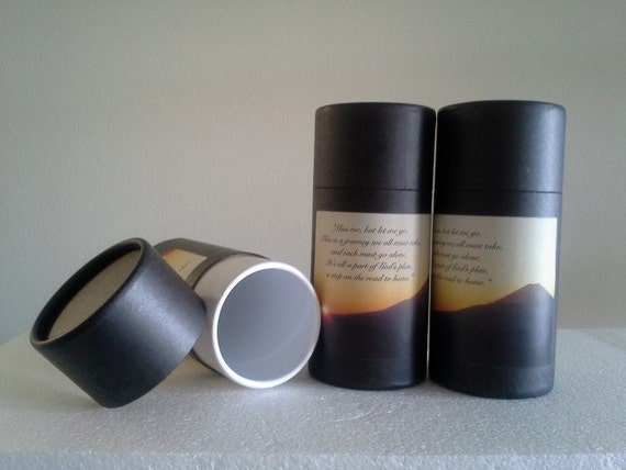 """SET OF THREE Eco-Friendly Cremation Urn Scattering Tubes w/Telescopic Lids - Black/Biodegradable - Style """"Sunset"""""""