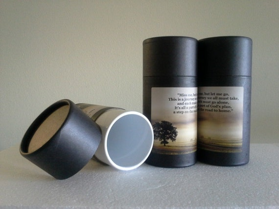 """SET OF THREE Eco-Friendly Cremation Urn Scattering Tubes w/Telescopic Lids - Black/Biodegradable - Style """"Hallowed Ground"""""""