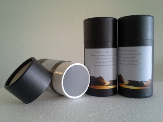"""SET OF THREE Eco-Friendly Cremation Urn Scattering Tubes w/Telescopic Lids - Black/Biodegradable - Style """"Heavenly"""""""
