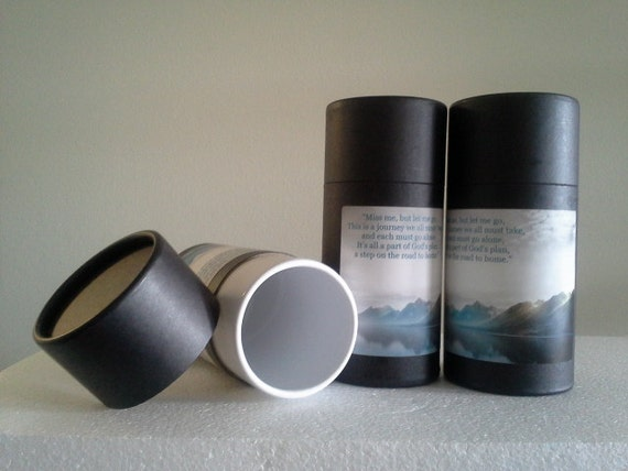 """SET OF THREE Eco-Friendly Cremation Urn Scattering Tubes w/Telescopic Lids - Black/Biodegradable - Style """"Mountain"""""""
