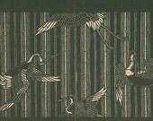 Bird Crane Stork Bamboo Japanese Stencil 1893 Antique Print 15 Black White Japan Wall Decor Japan Design Art Deco Art Nouveau Eclectic Style