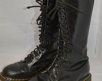 Vintage 20 EYE DR. MARTENS Tall Black Leather Boots Original Made in England Shoes uk-8 doc