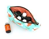 Essential Oil Case - Fox Happy Camper - cosmetic bag zipper pouch essential oil bag