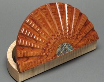 Bubinga and Curly Maple Wood Jewelry Box with Abalone Inlay