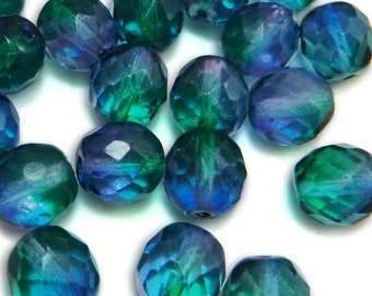 25 pcs 10mm Glass Beads Blue Green Round Faceted Czech Fire polished B-38