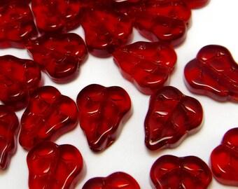 28 pcs Red Glass Leaf Beads Czech Pressed Glass B-155