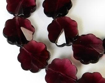 Purple Flower Beads 30 pcs 12 mm  Amethyst Flower B-229