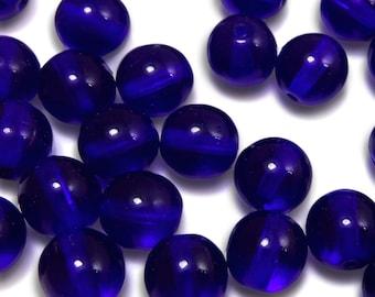 50 pcs 8 mm Glass Beads Cobalt Blue Round Czech Druk B-83