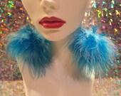 Electric Blue Mix Fluffy Pom Pom Earrings