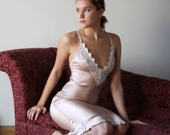 stretch silk nightgown with embroidered lace trim - ALICE charmeuse with spandex bridal range - made to order