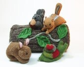 Woodland Animal set, waldorf toy grouping, stuffed toys, wool plushie, child's toy,