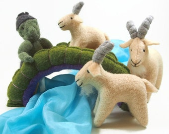 Billy Goats Gruff, fairy tale characters, waldorf toy, storytelling kit,
