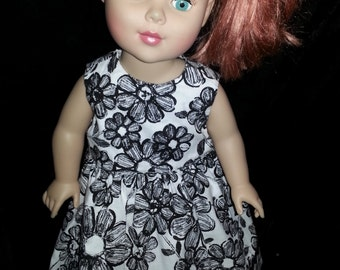 18in American Girl Our Generation and Journey  Doll black and white flowers  dress